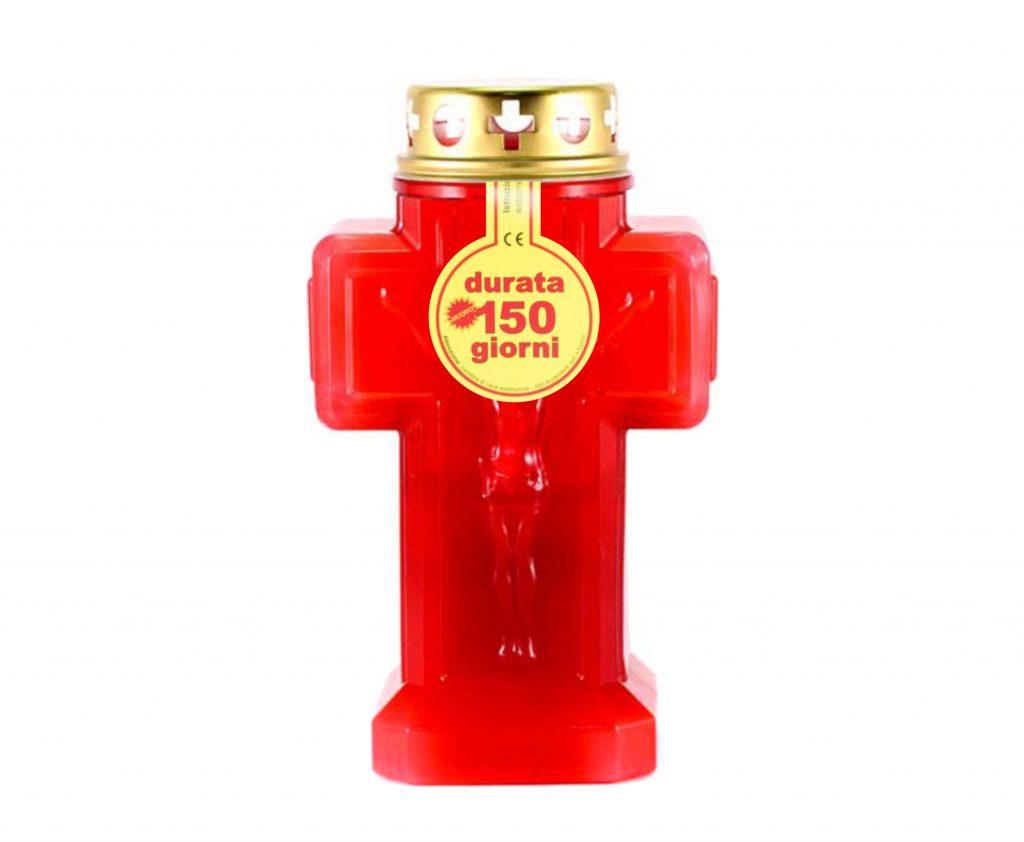 Lumino croce durata 150 giorni - cod. Lampada croce grande rosso