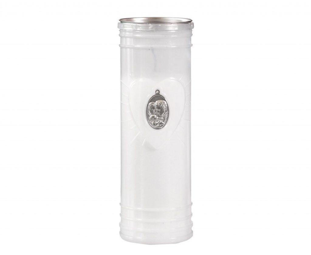 Lumino votivo Medaglia bianco scatola da 30 pezzi con medaglia argento