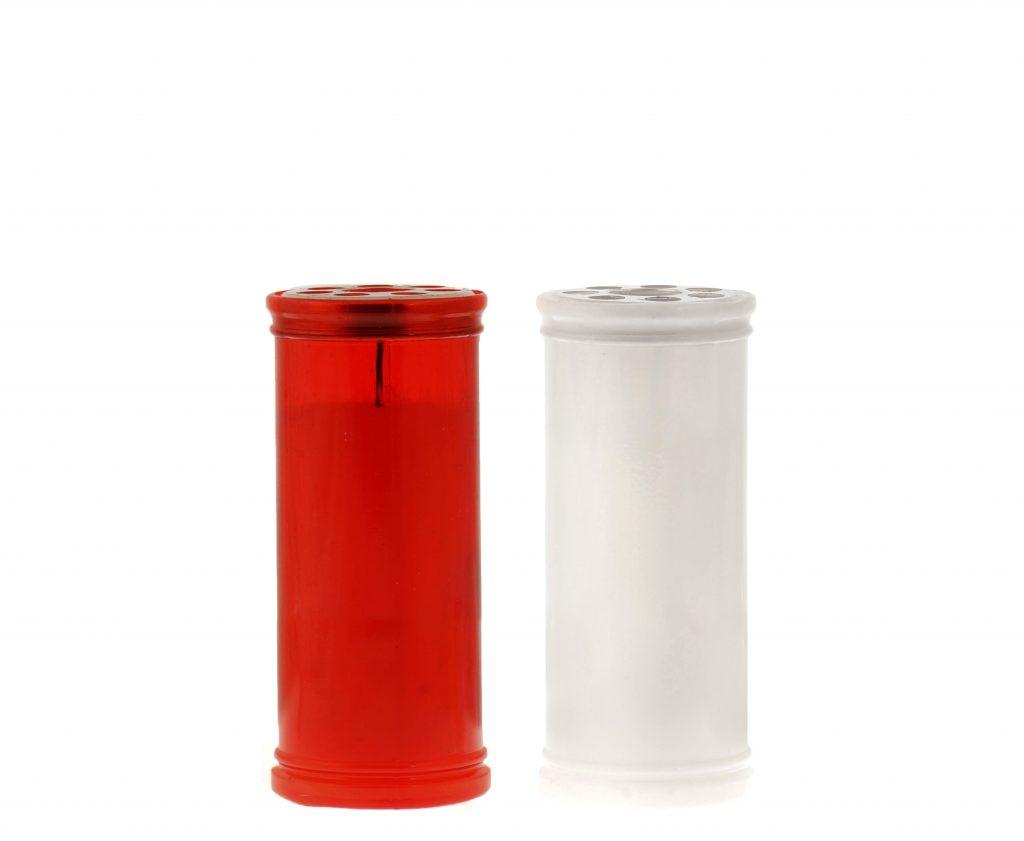 lumino votivo T40 rosso e bianco