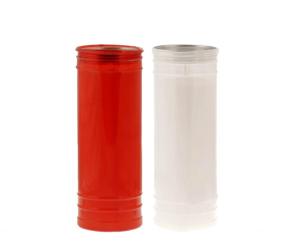 lumino votivo T80 rosso e bianco
